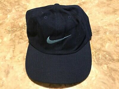 83cbfb66891f3 Vintage 90s Nike Embroidered Blue Swoosh Adjustable StrapBack Hat Nike Spell -Out