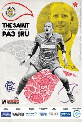 St Mirren v Rangers 2018/19 brand new football programme