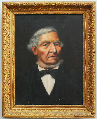 Antique 19Th Century Oil Painting Canvas Period John Tyler President Portrait
