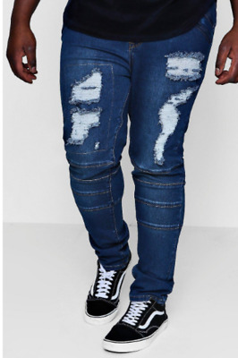 6249afd31b94 MEN'S BIG AND Tall Ripped Distressed Straight Jeans Slim STRETCH Fit ...