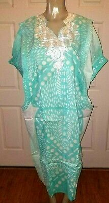 Beautiful Traditional Tribal Dashiki Turquoise & White One Size Small - X-Large