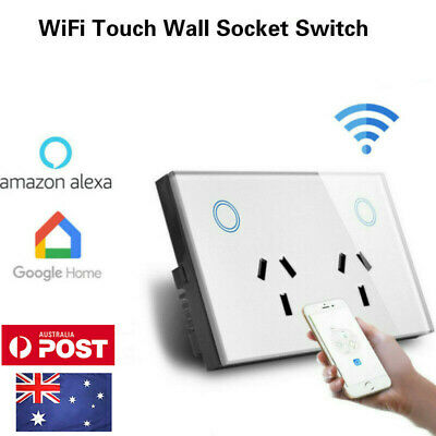 AU Approved Double Wall Outlet Smart Home WiFi Touch Switch Electric Socket 10A