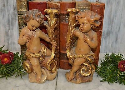 Antique Pair Italian Cherubs Statues Candle Holders Carved Wood Painted Gilded