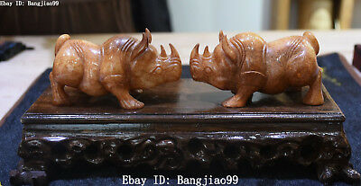 Natural Hetian Old Jade Carved Rhinoceros Cattle Ox Bull Oxen Animal Statue Pair