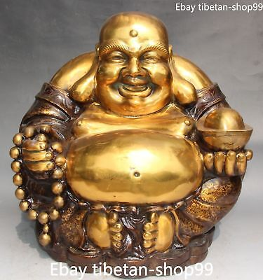 "15"" Marked Chinese Bronze Gilt Happy Laugh Maitreya Buddha Bead Yuanbao Statue"