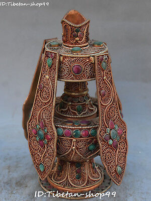 Old Unique Tibet Silver Gilt Filigree Turquoise Coral Pot snuff bottle Statue