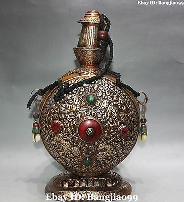 "14"" Chinese Old Silver Beeswax Deer Beast Bird Snuff Bottle Vintage Pot Jar Stat"