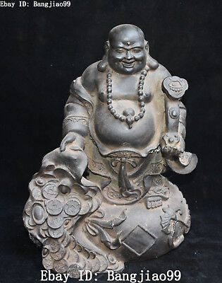 "13"" Old Tibet Black Bronze Wealth Money Ruyi Happy Laugh Maitreya Buddha Statue"