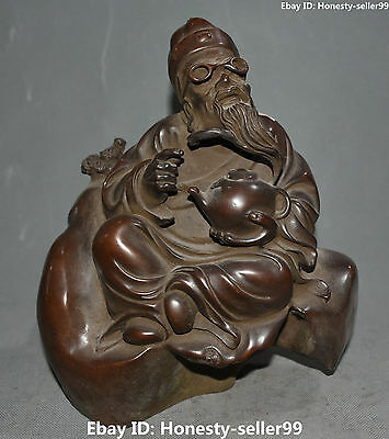 """11"""" Chinese Purple Bronze Ancient People Old Man Shopkeeper Teapot Pot Statue"""