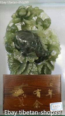 32CM Chinese Natural Green Jade Handwork Carving Fish Fishes Goldfish Statue