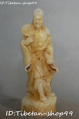 China Old Jade Hand Carving Temple Gourd Hold Fan Jigong Mad Monk Buddha Statue