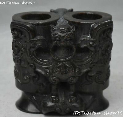 Marked China Natural Ox Horn Carving Bird Beast Double Cup Mug Calix Cups Statue