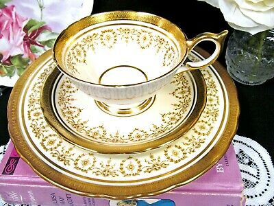 AYNSLEY tea cup and saucer trio Gold Dowery  24kt etched gold teacup athen shape