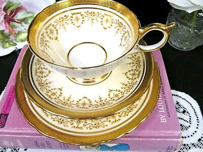 AYNSLEY tea cup and saucer trio Gold Dowery  24kt etched gold teacup b & b Plate
