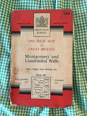 "Collectable Vintage OS Ordnance Survey 1"" Map 128 Montgomery Llandrindod Wells"