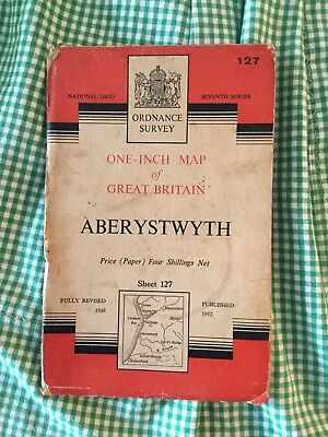 """Collectable Vintage OS Ordnance Survey One Inch 1"""" Map Sheet No 127 Aberystwyth"""