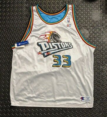 0528f62a01b6 Rare Vintage Champion Detroit Pistons Grant Hill Reversible Jersey Size 52  NWT