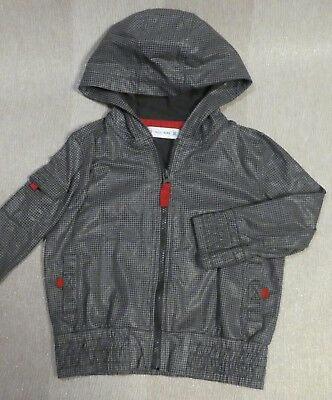 Marks & Spencer Mini Boys hooded light jacket grey wet look cotton age 2-3 years