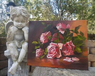 Antique Inspired Still Life with Pink Cottage/Cabbage Roses ~ Shabby
