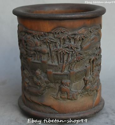 Chinese Bamboo Ancient People Old Man Brush Pot pencil Holder vase Statue