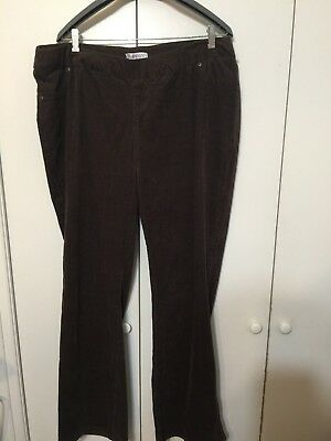 Roaman's Plus size 22W Fine Wale Dark Brown Corduroy Stretch Pants Pull On Style