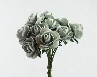 100! Cute Handmade Mulberry Paper Roses - 10mm - Silver Grey Rose Embellishments