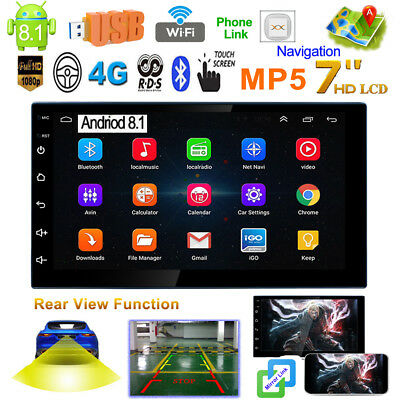 7 in 2Din Android 8.1 Car Stereo MP5 Player GPS Navi AM FM Radio WiFi Head Unit