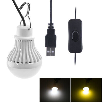 1pc 5W LED Bulb Light Camping Home Night Energy Saving Lamp USB Wire Hook Switch