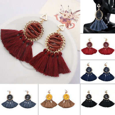 Fashion Women Ethnic Bohemian Long Tassel Fringe Boho Ear Stud Dangle Earrings