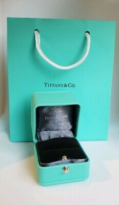 217ec124da3 Authentic Tiffany & Co Presentation Blue Leather Engagement Ring Blue Box w/ Bag