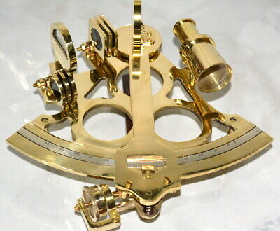 "antique vintage brass 8"" nautical sextant micrometer navigational instrument"
