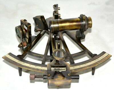 "Antique vintage brass 8"" nautical sextant maritime ship's astrolabe instruments"