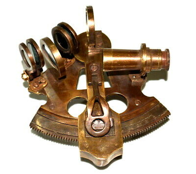"Antique vintage brass 4"" nautical sextant ship's astrolabe instrument good gift"
