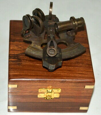 "Antique vintage brass 4"" nautical sextant astrolabe instrument with wooden box"