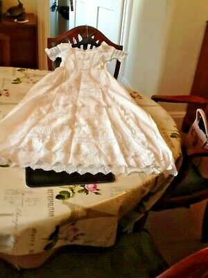 Beautiful Victorian Christening Robe with Lace and Broiderie Anglais Trim