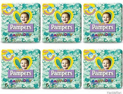 90 Pannolini Bambino Taglia 6 Pampers Baby Dry Misura Sesta Extralarge BabyDry