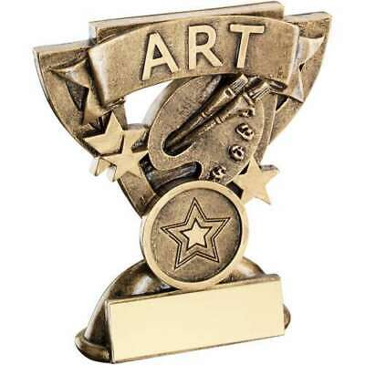Art Mini Cup Trophy 3.75in Award Bronze/Gold FREE Engraving