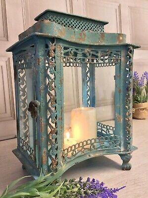 Large French Vintage Antique Style Lantern Candle Holder Shabby Chic Country