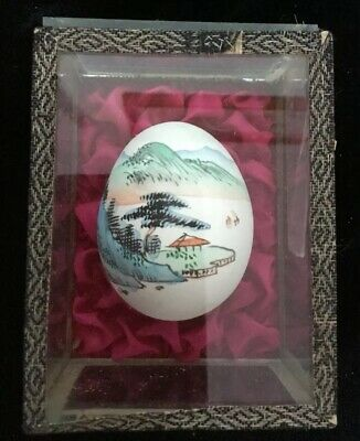 Delicate Vintage Hand Painted Chinese Egg In Glass Case
