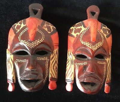 Lovely Pair Of Decorative African Hand Carved Masks