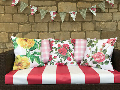 Fresh BOLD Big Floral WATERPROOF OUTDOOR PVC GARDEN BENCH SEAT CUSHIONS BUNTING