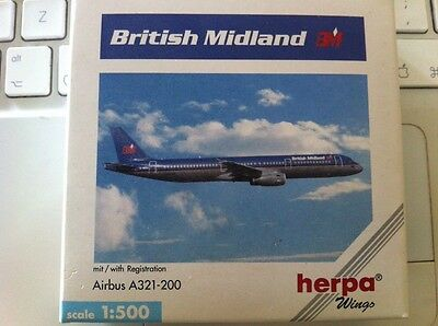 Airbus A321-200 British Midland Herpa Wings rare discontinued model scale 1:500