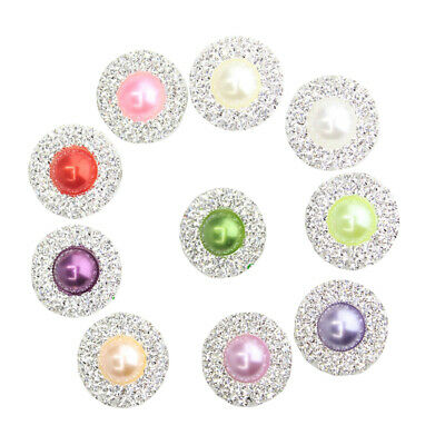 10x Round Crystal Pearl Flatback Buttons Embellishment for Wedding DIY 25mm