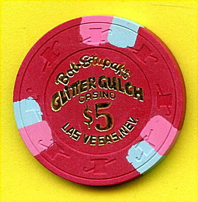 Old Vintage 1980 Casino Chip - $5.00 - Glitter Gulch Casino - Las Vegas Nevada