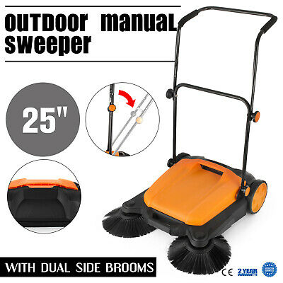 "Manual RT-650S Outdoor Push Sweeper 25""With Brooms Patio 16L Sweep Roads"
