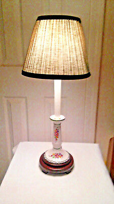 Wood & Hand-Painted Porcelain & Wood Table Lamp w/ Green Shade