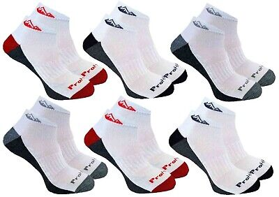 6 Pairs Mens Prohike White Navy Red Grey Cushioned Trainer Socks, UK Size 4-8