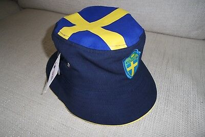 M/L Official SWEDEN Sverige Soccer Football Calcio NAVY BUCKET HAT TAGS SVF