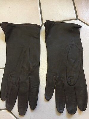 Vintage Ladies Gloves  Black Dark Brown Soft  Leather Size 7/1