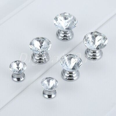 Glass Diamond Crystal Dresser Knobs Jewelry Box Case Drawer Cabinet Pull Handle